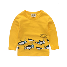 Girls shirt Long sleeve top Penguin T shirt clothing girl tshirts boys t-shirt tops clothes shirts children Clothing kid clothes(China)