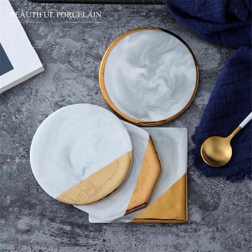 Gold Plating Marble Ceramic Coaster Cup Mats Pads for Drink Mug Non-slip Luxury Pad Desktop Home Decorations Kitchen Tool 1pc