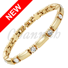 2017 Slim Girl Women Gold Magnetic Crystals Bracelet Ladies Fashion Jewelry Stylish Bangle Fast Wristband Hong Kong Post