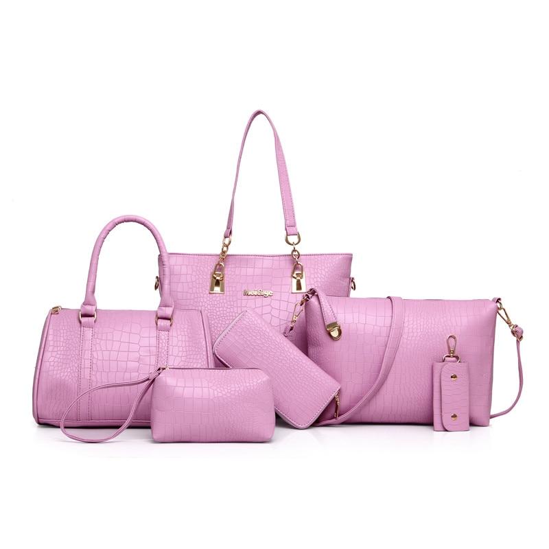 Women Bag 6pcs/Sets Fashion Handbag Set Luxury PU Leather Ladies Shoulder Bags Crossbody Bag Tote Clutch N220<br><br>Aliexpress