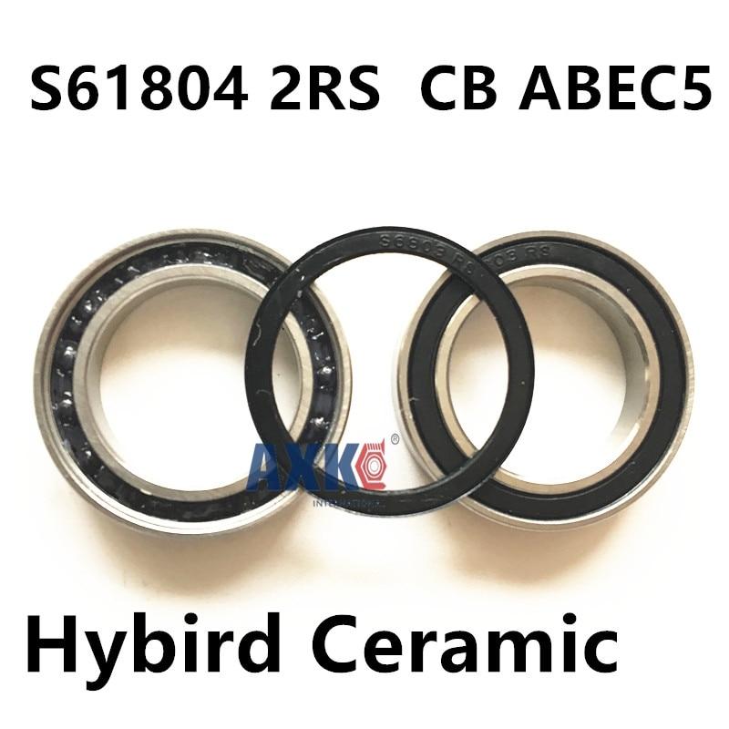 Free Shipping For MAVIC CROSSMAX SLR 2009 FRONT HUB 2PCS S61804 2RS  CB ABEC5 20X32X7mm  Stainless Steel Hybrid Ceramic Bearing<br>