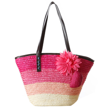 Knitted Straw bag Summer flower Bohemian fashion women's handbags color stripes shoulder bags beach bag big tote bags