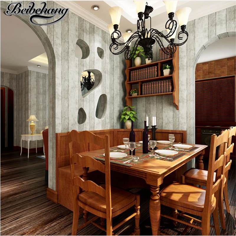 beibehang Simple American Village Imitation Wooden Wallpaper Bedroom Living Room Backdrop Nonwovens Striped Background Wallpaper<br>