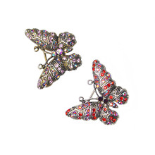 Vintage Butterfly Brooches Pins for Women Fashion Jewelry Inlay Shiny Red/Purple Rhinestone Lovely Animal Brooch Jewelry Gift