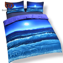 BeddingOutlet Moon And Ocean Duvet Cover Set Bed Spread Cool 3D Print Bedlinen Soft Blue Bedding Set 3pcs Twin Full Queen King