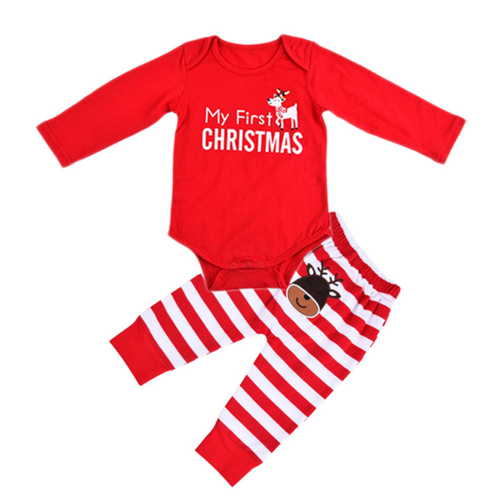 New Cotton Baby Boys Clothing Sets Christmas Newborn Baby Boy Girls Clothes Suit Long Sleeve Romper Jumpsuit Long Pants Outfits