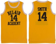Yellow Basketball T-shirts Basketball Jersey Will Smith The Fresh Prince Shirts 14# Letters and Maroon Letters Hip Hop(China)