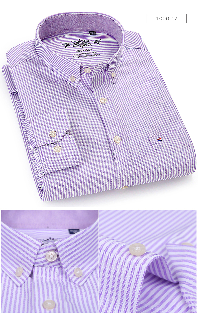 Men's Long Sleeve Contrast Plaid/Striped Oxford Dress Shirt with Left Chest Pocket Male Casual Slim-fit Buttoned Down Shirts 3