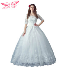 AnXin SH Lace flowers wedding dress beauty Princess half Bride wedding dress in winter or summer 8572 S(China)