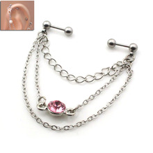 PE0317 free shipping 10pc/lot women steel industrial barbell silver body jewelry cheap metal chain pink rhinestone helix ear
