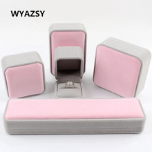 5 Style Personalized Pink Velvet Wedding Ring Box Fashion Classic Wedding / Valentines Engagement Box Jewellery Packaging Box