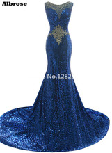 2016 Bling Sequins Blue Crystal Beaded Long Mermaid Evening Dress Prom Dress Illusion Neck Party Gown Vestidos De Festa Robe De(China)