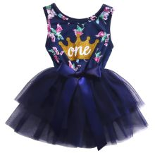 0-2T Kid Girls Princess Baby Dress Newborn Infant Baby Girl Clothes Purple Floral Crown Print Tutu Ball Gown Party Dresses(China)