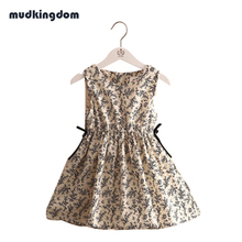 Mudkingdom Baby Girls 2017 Summer Small Floral Sleeveless Dress Waist Detail Childrens Clothing Knee-length Bohemian Cute Design(China)