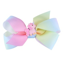Big bowknot Girl Hair Band Satin Ribbon girl barrette unicorn hairpins colorful bow hair clip jojo Hair Accessories 12cm
