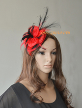 Red/black Sinamay fascinator wedding bridal hat with long feather