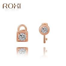 2017 ROXI Charms Lock And Key Stud Earrings Piercing Jewelry Rose White/Gold Color  For Weeding Party Christmas Gift Bijoux