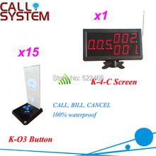 brand new Button Pager System for restaurant services, one set of 15 wireless call button and 1 display, shipping free(China)