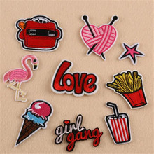 Hot sale embroidery flower patches for clothing star/letter/love/heart logo sticker iron on patch for clothes free shipping