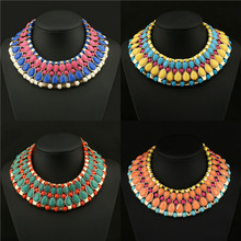 2017 Exaggerate Elegant Temperament Fashion Multicolor Crystal Choker Necklace Lace The European And American Fashion Necklace
