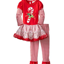 2017 New year Fashion Baby Girl Clothes Boutique Clothing Sets Christmas gift Long Sleeve Cotton Tops + Ruffle pants suit DTZ557(China)