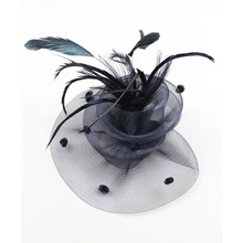 Women Wedding Veil Feather Fascinator Headband Hat Lady Bride Party Hairband S1(China)