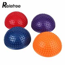 Relefree Random Color Gym Fitness Half Yoga Balance Ball Strength Training Workout Exercise Ball Point Message Ball(China)