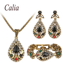 Retro Black Jewelry Sets For Women 3Pcs/sets Charm White Crystal Geometric Statement Necklace Bracelets Earrings Jewelry Set