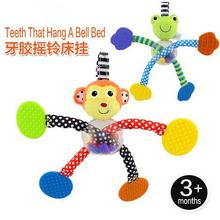 Candice guo plush toy stuffed doll cartoon animal frog monkey ball body rattle teether hand hang bell bed infant baby gift 1pc(China)