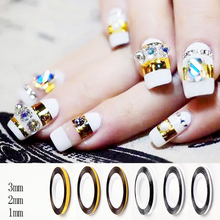 3pcs Gold Silver Striping Tape Nail Art Line Tape Sticker 1mm/2mm/3mm 3 Patterns Available(China)