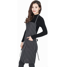 HearTogether Black And White Stripe Kitchen Apron 2 Pockets Chef Waiter Kitchen Cook Aprons for Home or Restuarant