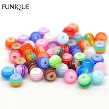 FUNIQUE DIY Beads Jewelry 500PCs Mixed Stripe Resin Beads Round Beads For Making Bracelet & Necklace Accessories Gifts 6mmDia.(China)
