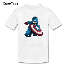 Captain America T Shirt Kids Cotton Short Sleeve Crew Neck Tshirt children's Clothes 2017 New Customized T-shirt For Boys Girls