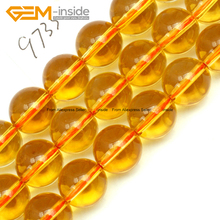 Round Yellow Genuine Citrines Stone Beads For Jewelry Making 12mm 15inches DIY Jewellery FreeShipping Wholesale Gem-inside