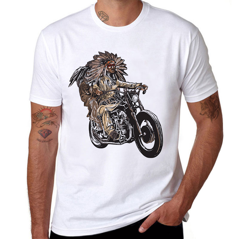 Motorcycle-Printed-T-Shirt-Man-Cotton-Short-Sleeve-Casual-o-neck-Men-T-shirts