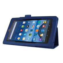 Folio Flip Leather Magnetic Smart Cover Case Stand For Amazon Fire 7 Dark Blue