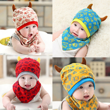 2pc/set Baby Beanies Cap Set with Bandana Bib Monsters Design Hat Head Scarf Boy Girl Kids Toddler Clothing Accs Knitted Caps(China)