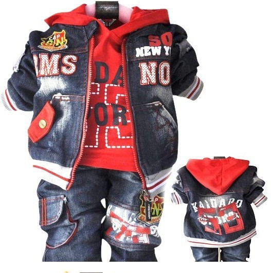 2015 Meninas Clothes Pajamas Clothing Sets Set Retail Boys In The Spring And Autumn Suit (jacket + T-shirt Jeans) Free Shipping<br>