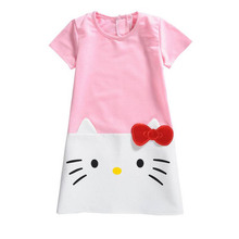 New Children Girl Cotton Clothing Cartoon Kitty Cat Christmas Short Sleeve Dress Up Long Tees For 2-9 Year Kid Baby,J553,J568(China)