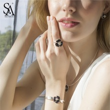 SA SILVERAGE 925 Sterling Silver Flower Rings Gemstone Wedding Ring for Women Fine Jewelry Black Ladies Rings With Rhinestones(China)