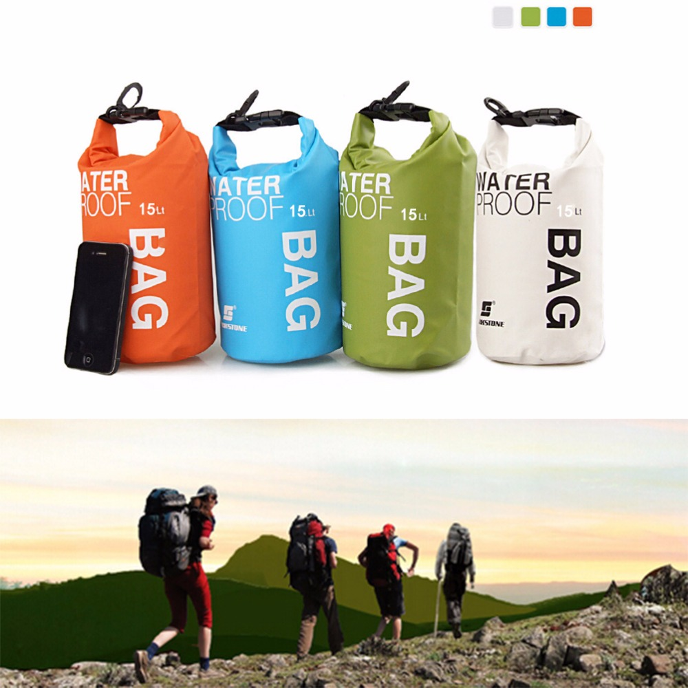 Waterproof Water Bags Sack Pouch Canoe Portable Dry Bags for Boating Kayaking Camping Rafting Hiking 15L