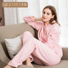 QIANXIU pajama set for woman thicken berber Fleece stand collar women pajamas pure color comfort winter warm pyjama female(China)