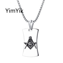 YimYik Punk Mens Necklaces Stainless Steel Masonic Pendants Necklaces for Men Jewelry Vintage Fashion Gift(China)