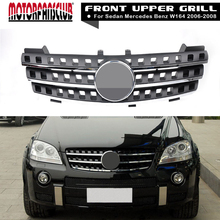 Black Front Hood Sport Chrome Grill Grille For Mercedes Benz ML Class W164 2005-2008 With Badge Sticker Cover(China)