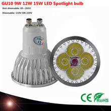 1PCS Cree GU10 bulb led 9W 12W 15W gu led lamp Led Spotlight AC85-265V Bright CE/RoHS Warm/Cool White,Free Shipping(China)