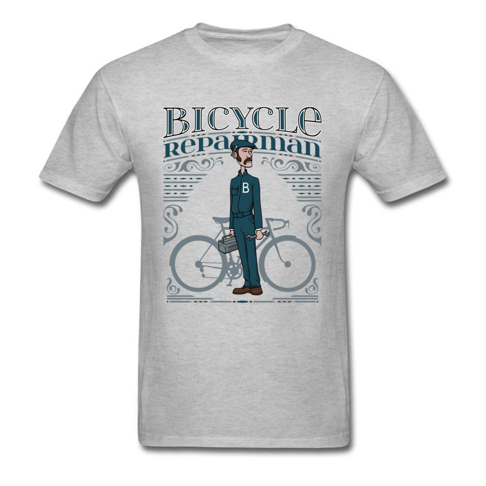 Bicycle Repairman T Shirts Custom Short Sleeve Cheap O-Neck 100% Cotton Tops Shirts Casual T Shirts for Men Mother Day Bicycle Repairman grey