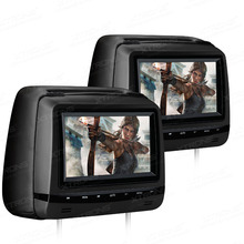 "2x7"" Headrest Car DVD Player Anti-theft Detachable Flat Cover Monitor Adjustable Screen IR FM Speaker Touch Panel Pillow Video"