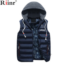 Riinr 2017 New Brand Mens Jacket Sleeveless Vest Winter Fashion Casual Coats Male Cotton-Padded Men's Vest Men Thicken Waistcoat(China)