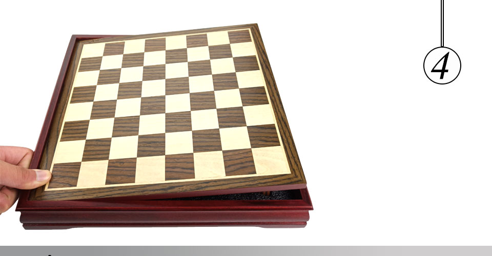 Easytoday Wooden Chess Game Set Wood Chess Pieces Short Tea Style Puzzle Chessboard Table Games High-quality (4)