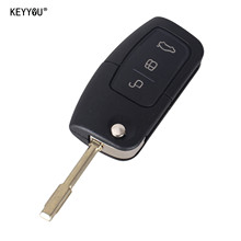 KEYYOU 3 Buttons Flip Folding Remote Key Shell Cover Fob For FORD Focus Mondeo Key Case With Sticker